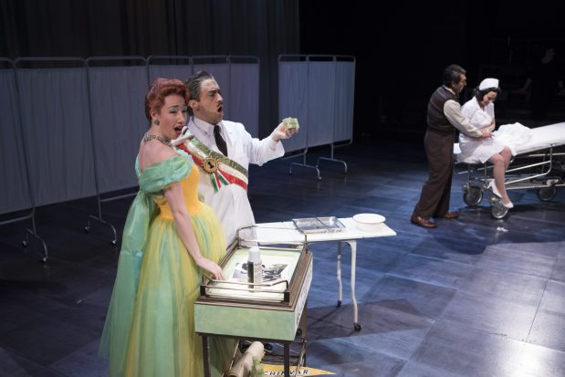 Camille Sherman as the Announcer, Ricardo Garcia as Donald Hopewell, Geoffrey Schellenberg as Doctor Gregg, and Emilie Faiella as Lola Markham in Gallantry. Photo by Kate Szrom.