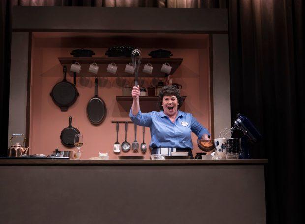 Angela Niederloh as Julia Child in Bon Appetit! Photo by Kate Szrom.