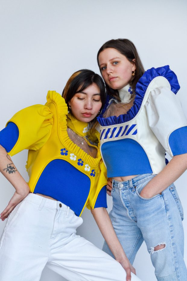 fashion tops in blue, white and yellow