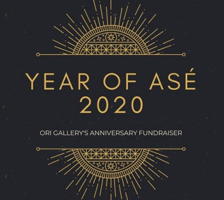 "Logo featuring gold geometric designs on black background and text reading ""Year of Ase 2020, Ori Gallery's Anniversary Fundraiser"""
