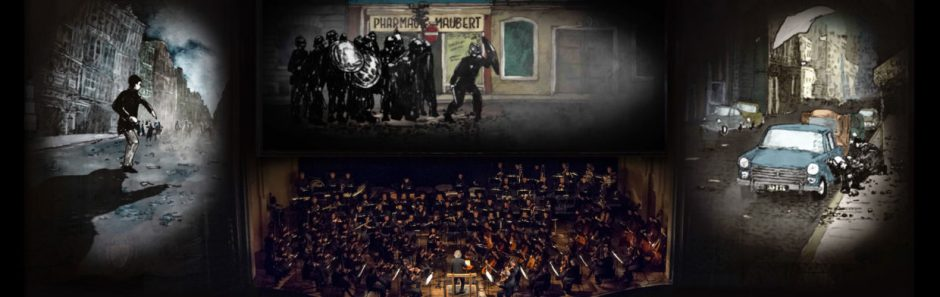 A mock up of projected animations at the Arlene Schnitzer concert hall, depicting stylized representations of 1960s era protests in France, the orchestra performs below.