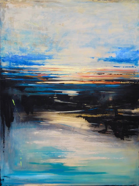 """""""Beyond"""" by Hazel Schlesinger (acrylic, 36 by 48 inches), at Northwest by Northwest Gallery in Cannon Beach."""