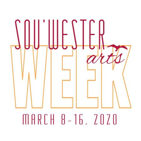 Logo for Sou'wester Arts Week, featuring the name and date of the event in slim yellow and red letters, and a small seabird silhouette in one corner.