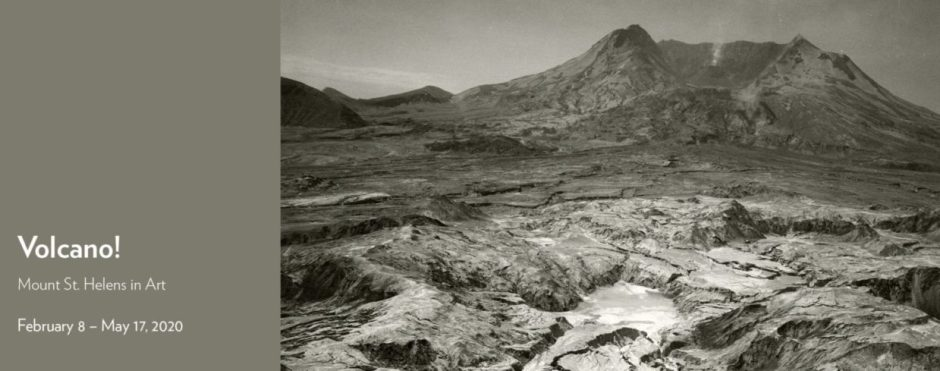 Promotional image for Volcano art show, featuring a black and white photo of the recently erupted Mt. St. Helens