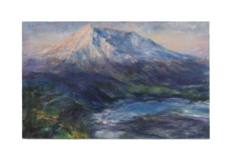 An impressionistic oil painting of Mount St. Helens in misty morning light with an alpine lake in front of it.