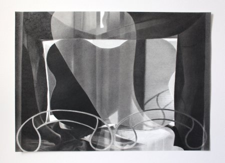 Abstract black-and-white drawing featuring organic-looking shapes overlayed with sharp angular forms and calligraphic designs, evoking a dark room layered with sheer curtains and wrought metal decor