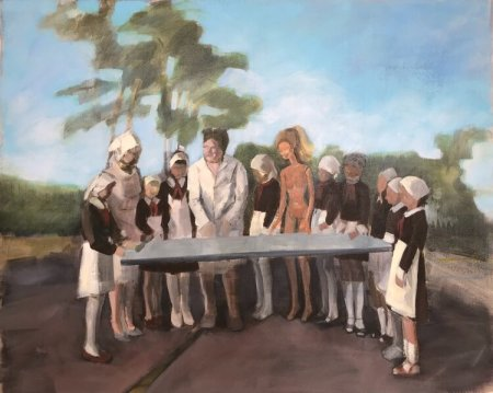 An impressionistic painting of twelve figures standing around a table in an outdoor clearing; nine figures appear to be girls dressed in school uniforms with kerchiefs on their heads, two figures are instrctuors or leaders of the group, and one is a nude, life-size Barbie doll.