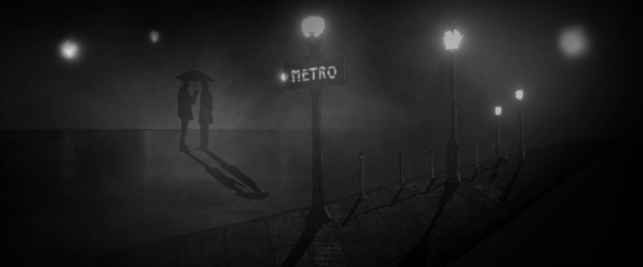 "Black and white hand drawn animation still featuring two silhouetted figures standing at night under an umbrella, a Parisian ""Metro"" sign is illuminated by a streetlamp in the foreground"