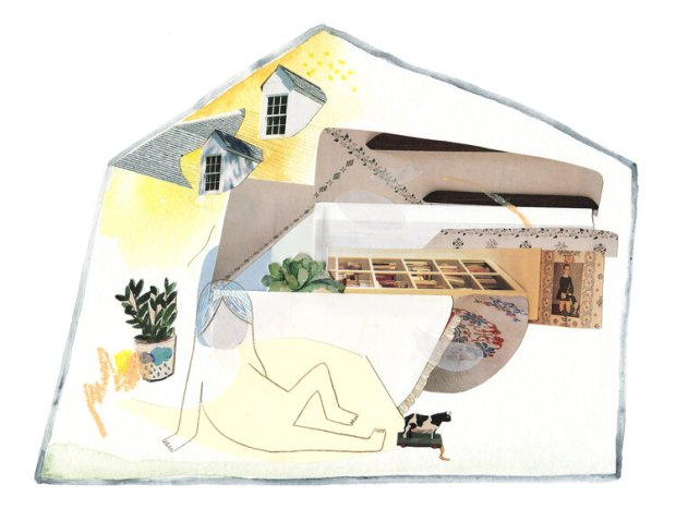 """At Home no. 2,"" by Linden Eller of Phoenix, Ariz. (collage with watercolor, pastel, and pencil on paper, April, 2020)"