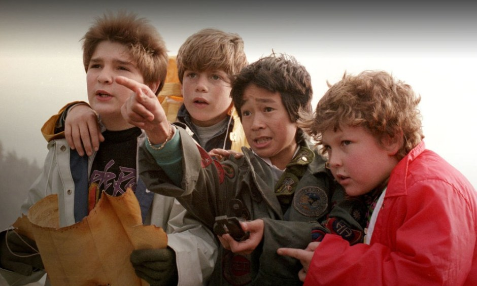 "Corey Feldman (from left), Sean Astin,, Ke Huy Quan, and Jeff Cohen starred as the pirate-treasure-hunting heroes of ""The Goonies,"" filmed largely in Astoria and along the Oregon Coast."