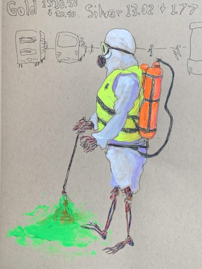 a colored-pencil drawing of a figure wearing a hazmat suit and spraying neon green liquid on the ground, the suit's legs are rolled up to reveal a skeleton's legs; in the background the prices of gold and silver on the stock market are written above crudely rendered outlines of service trucks