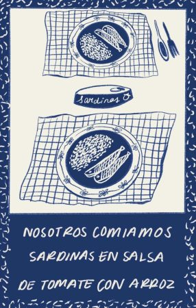 print with sardines and table setting