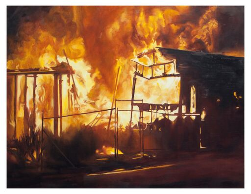 """Work by Natalie Niblack, such as """"Fire"""" (oil on linen, 30 by 40 inches) and Ann Chadwick Reid will be included in a show on climate change opening Sept. 15 in the Chehalem Cultural Center in Newberg."""