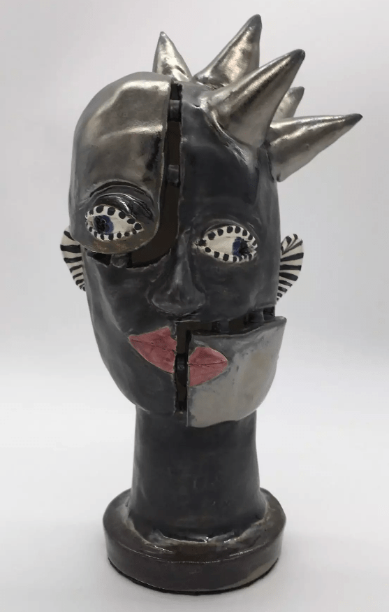 """Artist Sam Jacobson writes of """"Discombobulated II"""" (clay, 11.5 by 6 inches), her piece in the Oregon Coast Council for the Arts Online Art Show: """"Sometimes things don't quite come together the way they should (wink)."""" Jacobson will host an online tour of her Otis studio on Aug. 23 as one of the Oregon Coast Art Talks."""