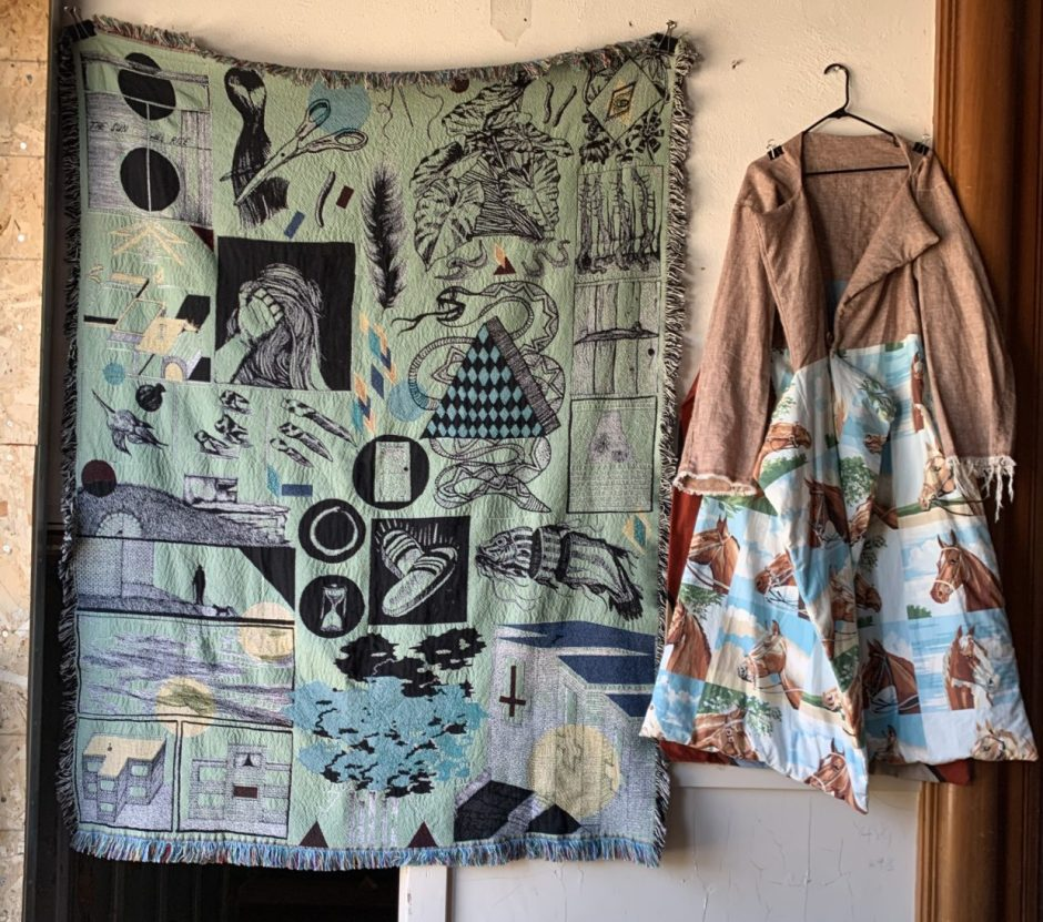 """Two hand-woven pieces by Vo Vo in the upstairs exhibitn """"Settle/Settler,"""" at the Chehalem Cultural Center display a Western flair. Photo by: David Bates"""
