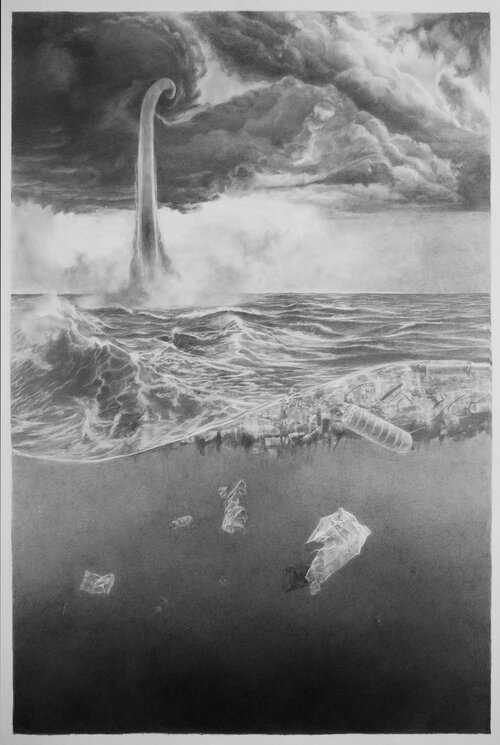 """""""Funnel Cloud"""" by Natalie Niblack (graphite on paper, 2017, 41 by 50 inches)"""