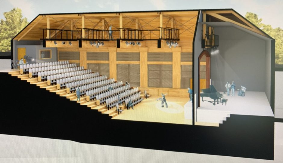 A rendering by Scott|Edwards Architecture shows the future LaJoie Theatre in the Performing Arts wing of the Chehalem Cultural Center in Newberg. This view is looking north at the facility, which will be on the second floor. Photo courtesy: Chehalem Cultural Center