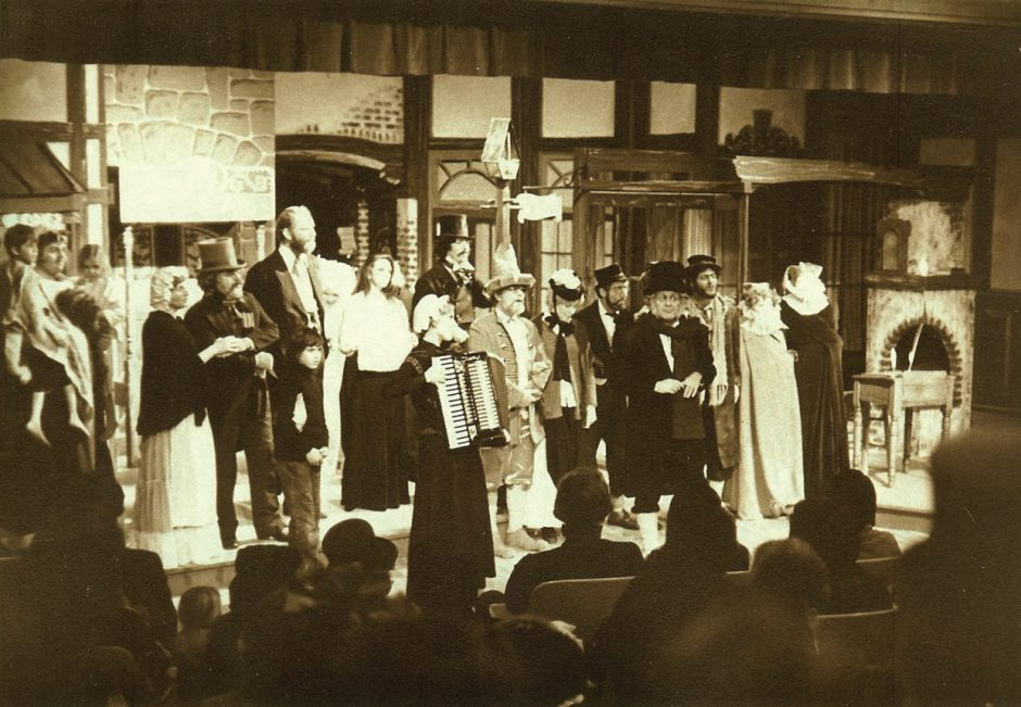 The Coaster Theatre Playhouse began offering a Dickens play at Christmas in 1973. This photo of the cast taking a bow is from sometime in the 1970s. Photo courtesy: Coaster Theatre Playhouse