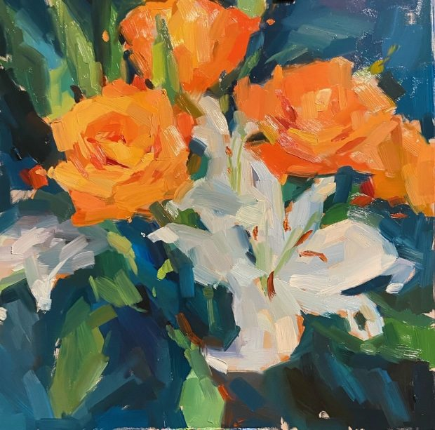 """""""Salmon Roses and Lilies"""" by Katia Kyte (oil, 12 by 12 inches)"""