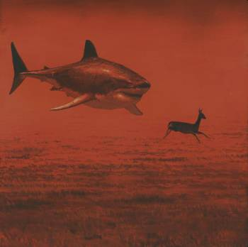 red-hued image with a shark chasing a deer