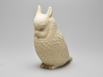 "Bue Kee (born Portland, 1893; died Multnomah County, 1985), ""Owl,"" (1939, clay, 15-1/8 by 6-¼ by 14 inches), Portland Art Museum, Courtesy of the Fine Arts Collection, US General Services Administration, New Deal Art Project, L42.28. Photo courtesy: Hallie Ford Museum of Art"