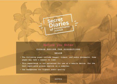 'Secret Diaries of Pennsylvania Avenue' landing page.