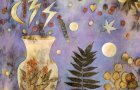 """""""Birth Vessel"""" by Lisa Brinkman (eco-prints of sumac, eucalyptus, and maple on raw silk canvas, cold wax and oils, 30 by 30 inches)"""