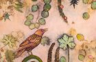 """""""Pink Crow"""" by Lisa Brinkman (eco-prints of geranium, eucalyptus, and sumac on raw silk canvas, cold wax and oils, 30 by 30 inches)"""