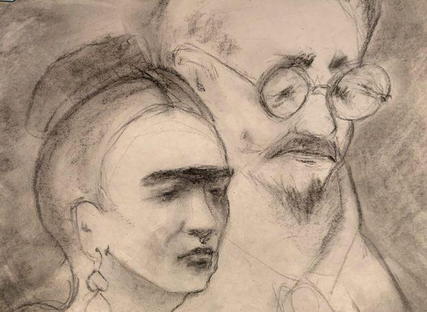 Molly Van Austen, Frida Kahlo and Leon Trotsky. crop