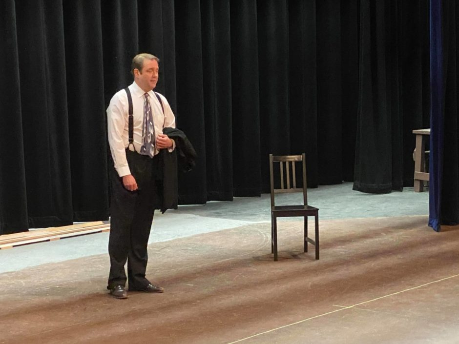 """Lance Nuttman rehearses the role of Tim Tooney in """"Novecento"""" on the Gallery Theater stage in McMinnville. Photo by: Seth Renne, courtesy Gallery Theater"""