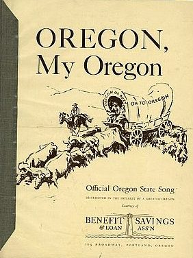 """The cover of sheet music for """"Oregon, My Oregon"""" depicts pioneers along the Oregon Trail."""
