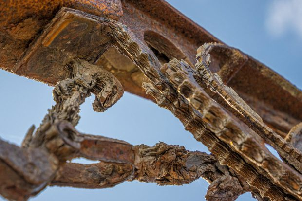Rust has caused significant damage to the sculpture, prompting the city to take it down for repairs before it deteriorated further, potentially hurting a passer-by. Photo by: Bill Posner