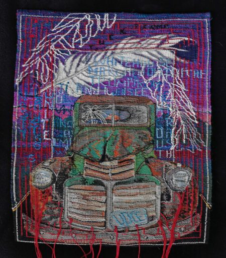 """Kathe Todd-Hooker says her small-format tapestry, """"Last Stand"""" (embroidery floss - cotton and rayon, 8.5 by 11 inches), tells the story of a politically active friend who felt put out to pasture."""
