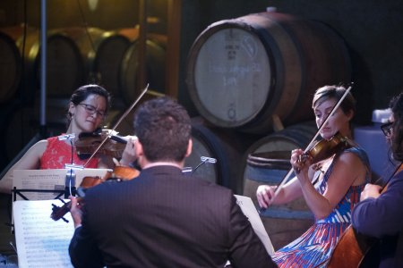 Megumi Stohs Lewis, Kenji Bunch, Sasha Callahan, and Leo Eguchi at J.Christopher Wines Barrell Room in 2016. Photo by Dan Lewis.