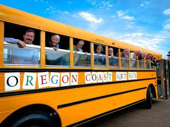 On the Arts Bus are (from left) Jason Holland, Executive Director of the Oregon Coast Council for the Arts; Cynthia Jacobi, Newport City Council member; Moe Snyder, instructor; Sara Siggelkow, OCCA Arts Education Manager; Cathey Briggs, OCCA board member; Dean Sawyer, Newport mayor; Rep. David Gomberg, D-Otis; Gary Lehman, volunteer; Tom Webb, Newport Visual Arts Center director; and Dietmar Goebel, Newport City Council member.