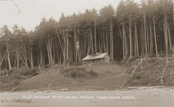 The original Oswald West cabin was built in 1913 by the Oregon governor responsible for Oregon's beach highway law, which declared the entire Pacific coastline to the high tide to be public highway. Photo courtesy: Cannon Beach History Center and Museum