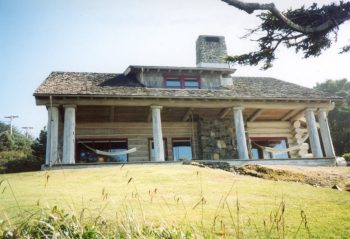 After the Oswald West cabin was destroyed by arson in 1991, the owners, descendants of the home's third owner, Dr. Harry M. Bouvy, built a replica of the home on the Cannon Beach site. Photo courtesy: Cannon Beach History Center and Museum