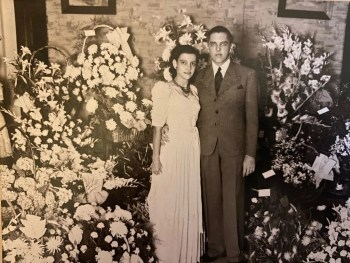 The wedding of Mantiri's Aunt Julia, whose brutal murder during the revolution after World War II was a key influence in her father leaving Indonesia. His last words to Mantiri, who closely resembles her aunt, reflected his sorrow over the loss of this sister and his enduring concern for his daughter. Photo courtesy: Mantiri Family Archives