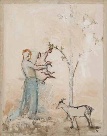 painting by Morgan Walker of a man in blue pants holding a pig up to eat an apple off of a tree. A goat stands in the foreground.