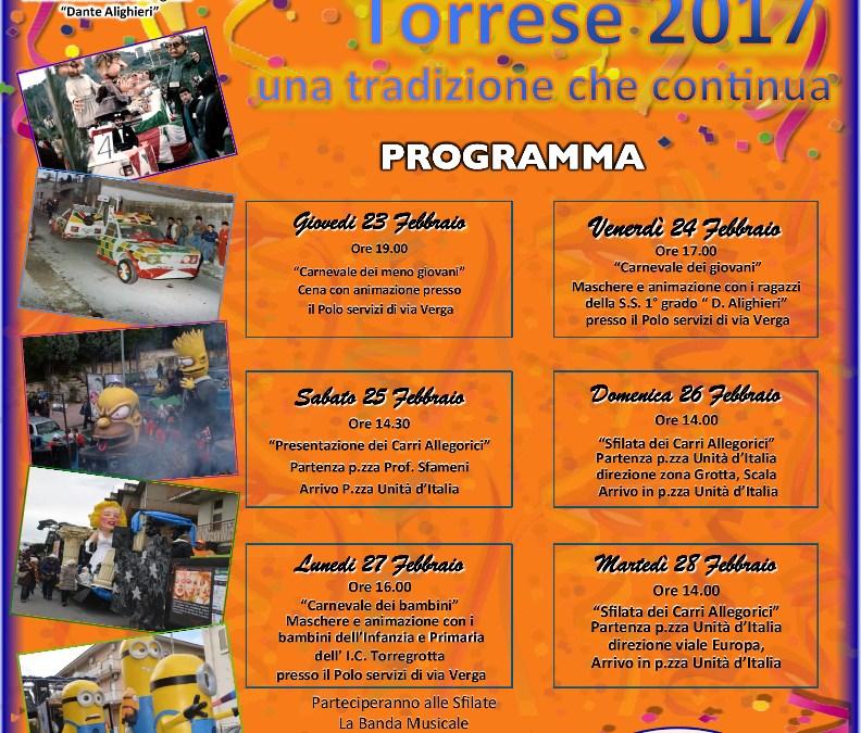 Carnevale Torrese 2017, tutti gli eventi in programma
