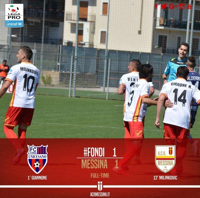 Calcio Lega Pro. Il Messina non riesce a vincere. A Fondi finisce 1-1