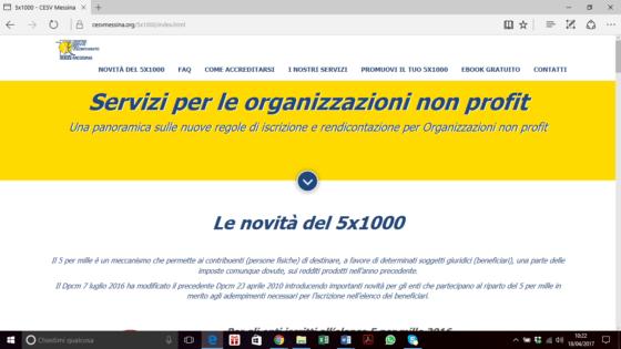 Novità del 5 per mille, pagina del sito del CESV Messina interamente dedicata