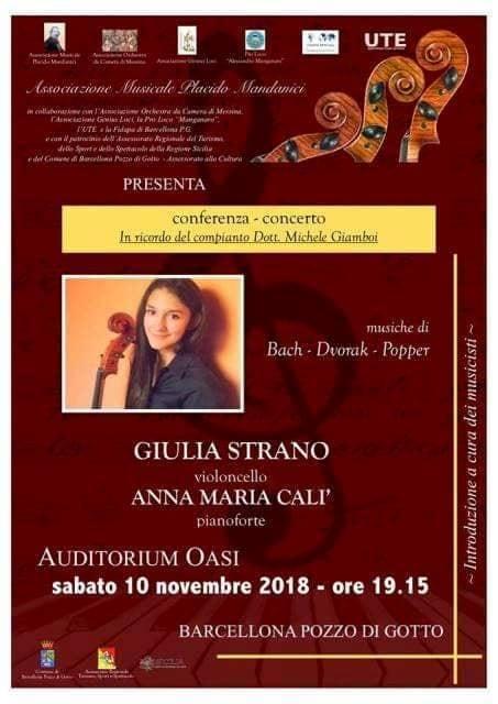 Barcellona PG. La violoncellista Giulia Strano in concerto in memoria del Dott. Michele Giamboi