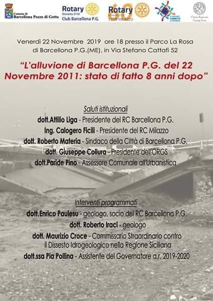 Barcellona PG. Convegno Rotary in ricordo dell'alluvione del 22 novembre 2011