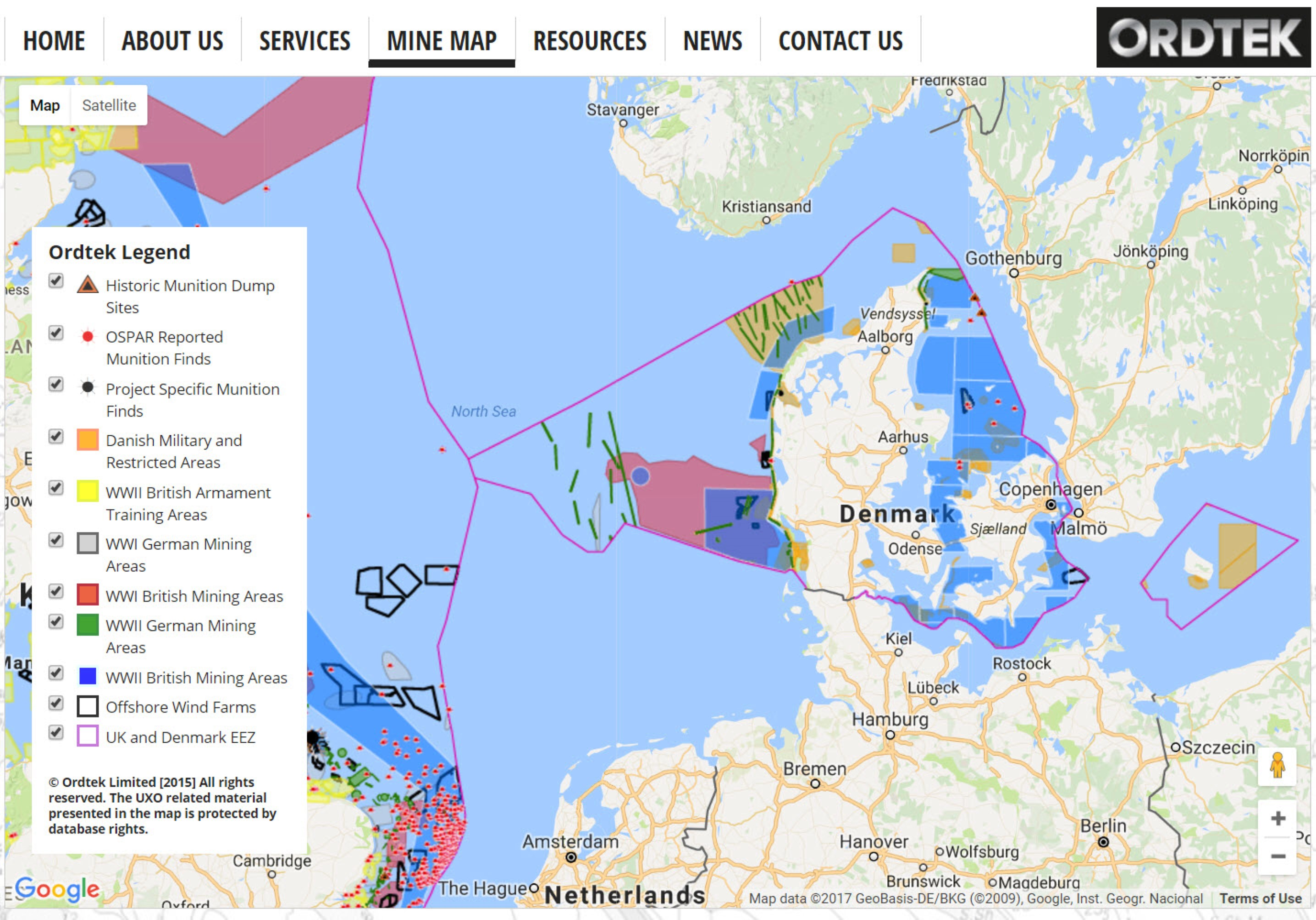 Expanding Mine Map helps spot danger at Danish wind farm site