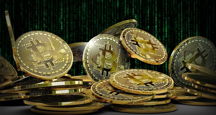 Picture of bitcoin gold coins