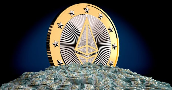 Picture of a giant Ethereum coin standing in a heap of U.S. dollars