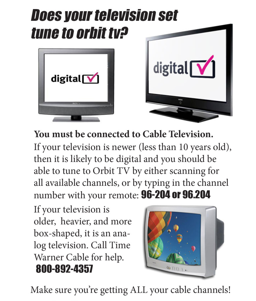 Tuning your TV to Orbit Television.