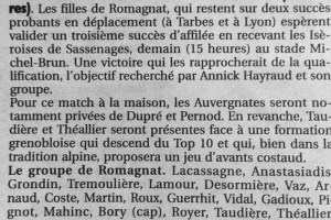 annonce match vs Sassenage PAges sports