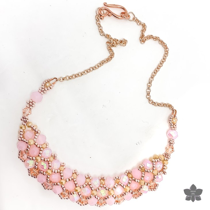 pink and rose gold crystal necklace